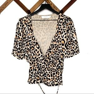 ASTR leopard print sweetheart top